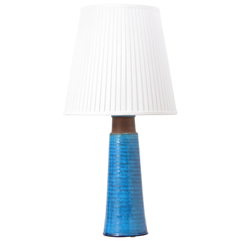 Large Turquoise Danish Mid-Century Modern Stoneware table lamp by Nils Kähler For Sale