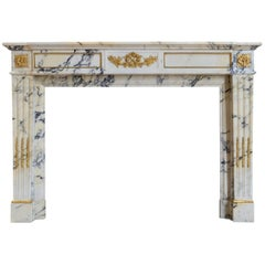 Louis XVI Style Arabescato Marble Fireplace, 19th Century