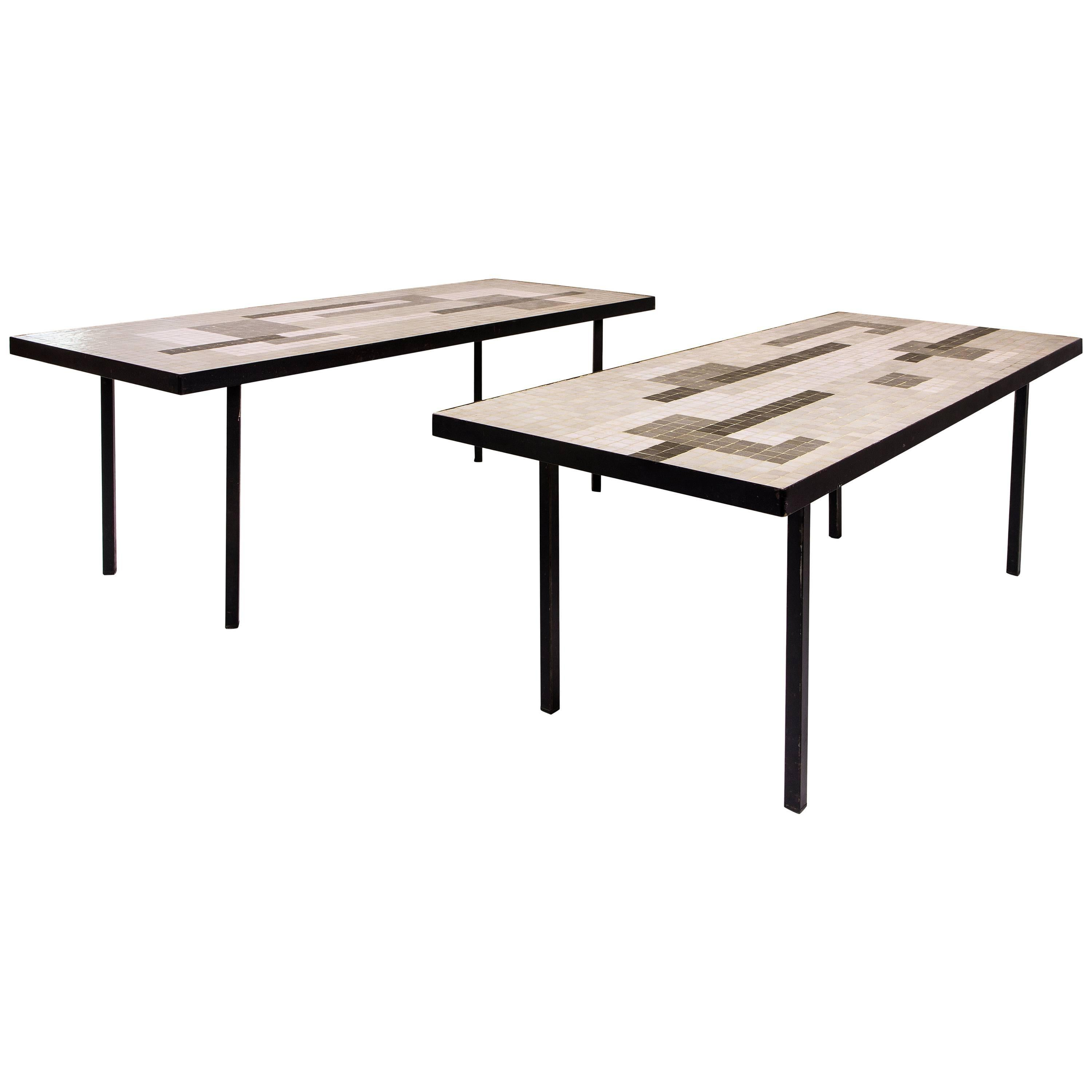 Pair of Ceramic Coffee Tables circa 1960 France For Sale at 1stdibs