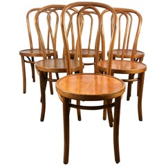 Set of Six Classic American Bentwood Side Chairs by Thonet, New York