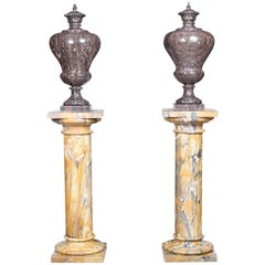 Grand Pair of Neoclassical Style Vintage Marble Urns on Column Plinths