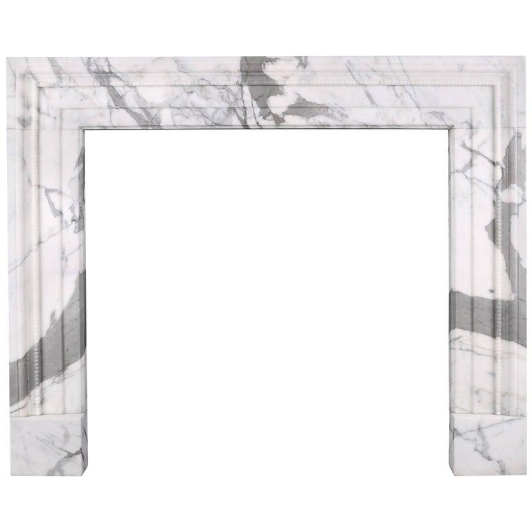 Stylish Regency Bolection Chimneypiece in Italian White Statuary Marble