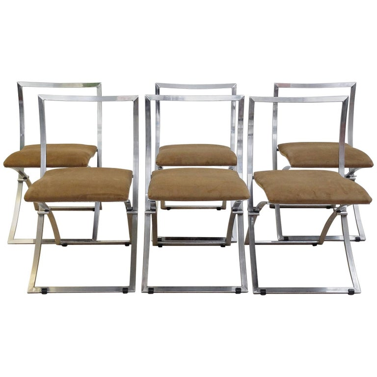 Six Marcello Cuneo Folding Chairs 'Model Luisa' for Mobel, Italia New Upholstery For Sale