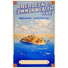 Original Vintage Aberdeen & Commonwealth Line England Australia Poster Ft. Malta