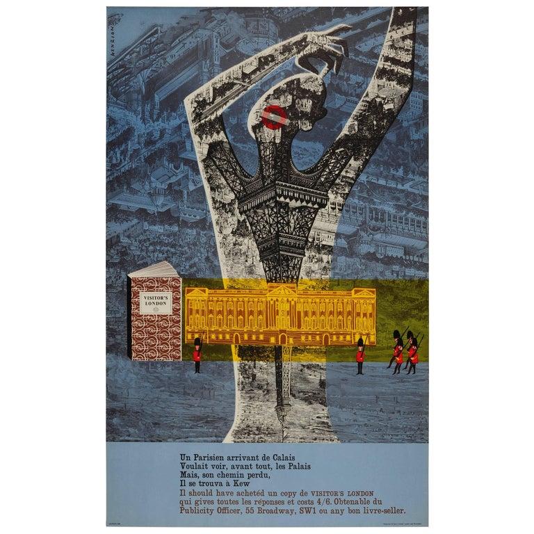 Original Vintage London Transport Poster by Henrion Visitor's London Guide Book For Sale