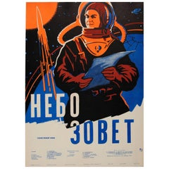 Original Vintage Russian Sci-Fi Movie Poster - Nebo Zovyot Battle Beyond the Sun