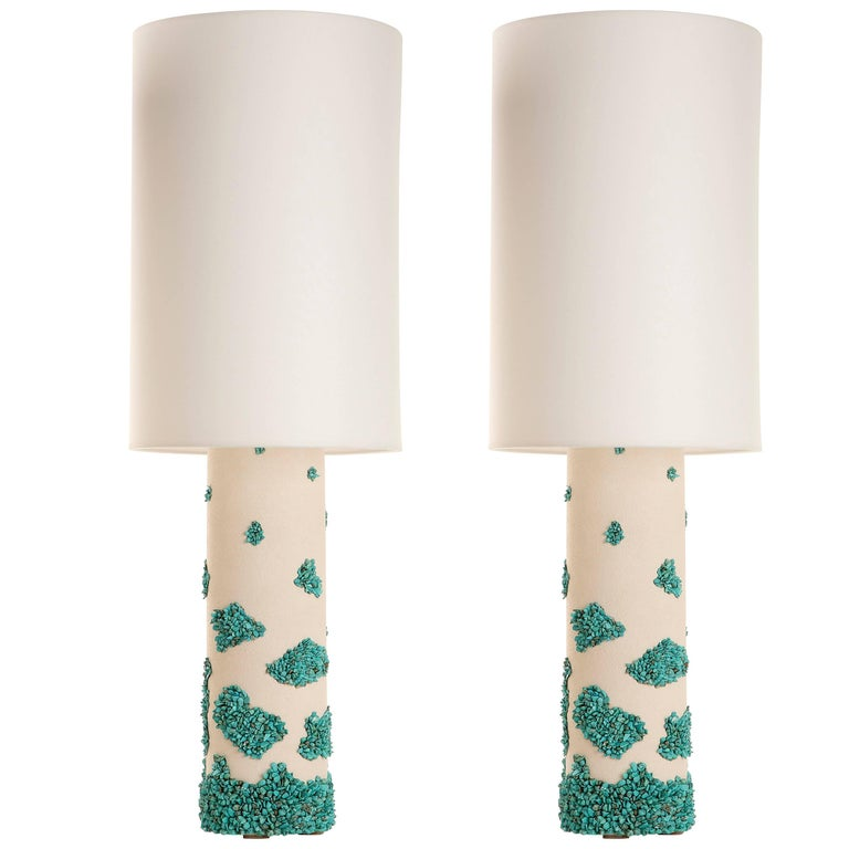 Pair of White Ceramic and Turquoise Howlite Lampes by Stdo