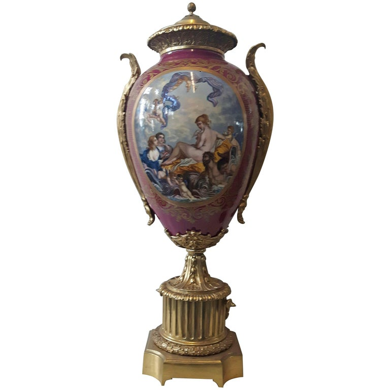 Large 19th Century Sevres, Style Vase For Sale