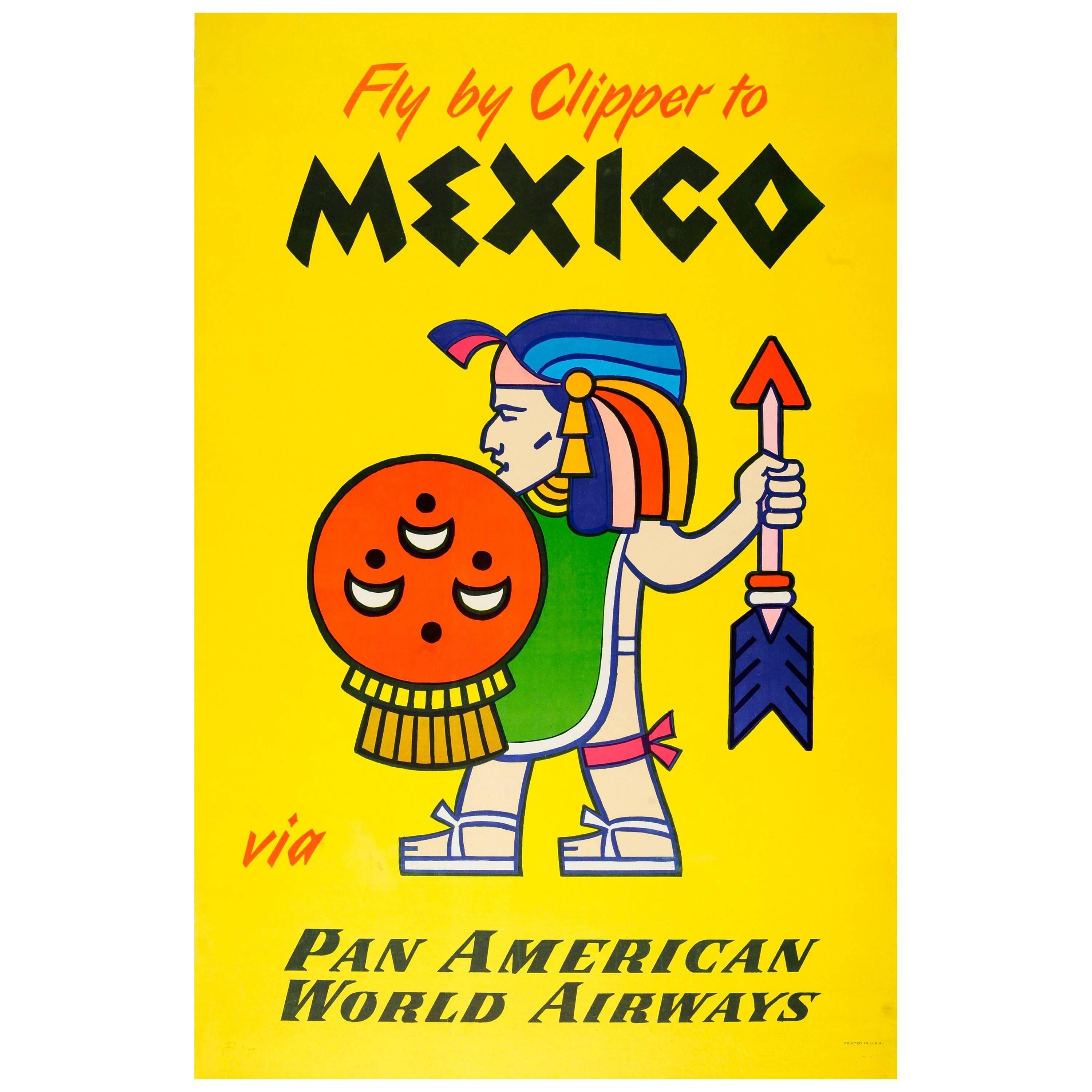 Original Vintage Pan Am Travel Poster Fly By Clipper To Mexico Via Pan American