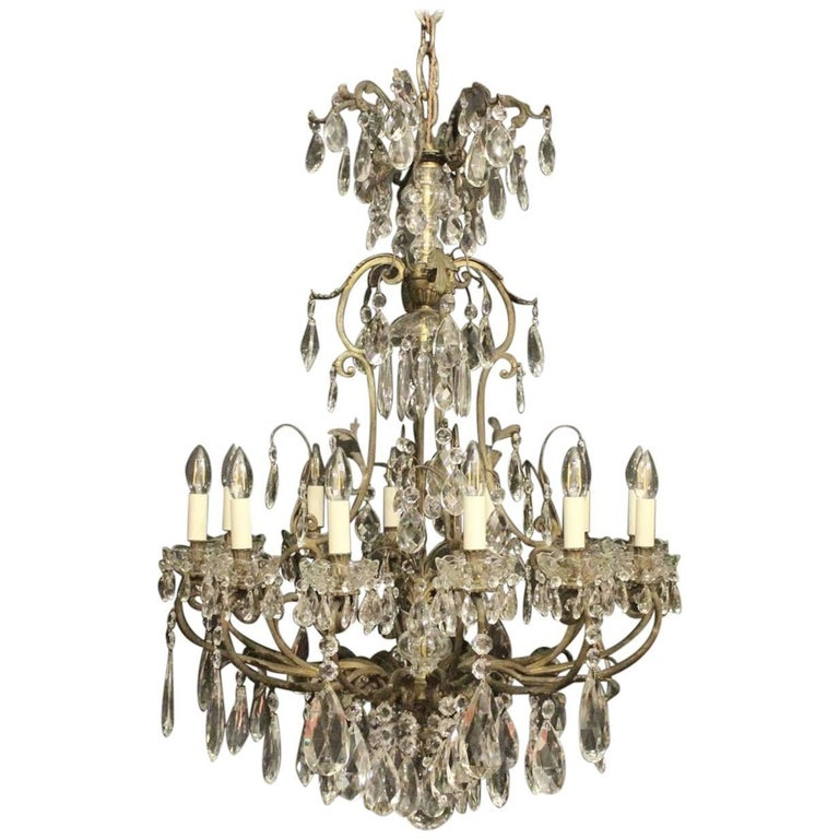 French19th Century Gilded Bronze and Crystal Thirteen-Light Antique Chandelier