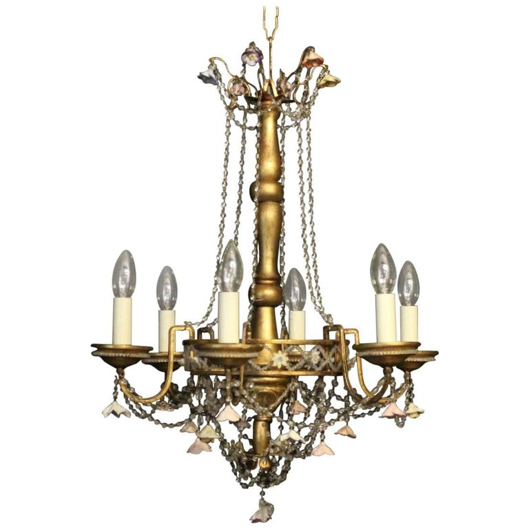 Italian Six-Light Giltwood, Porcelain and Crystal Antique Chandelier