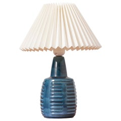 Blue Danish Ceramic Table Lamp by Einar Johansen for Soholm, 1960s