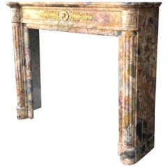 Marble Fireplace Louis XVI Style, 19th Century