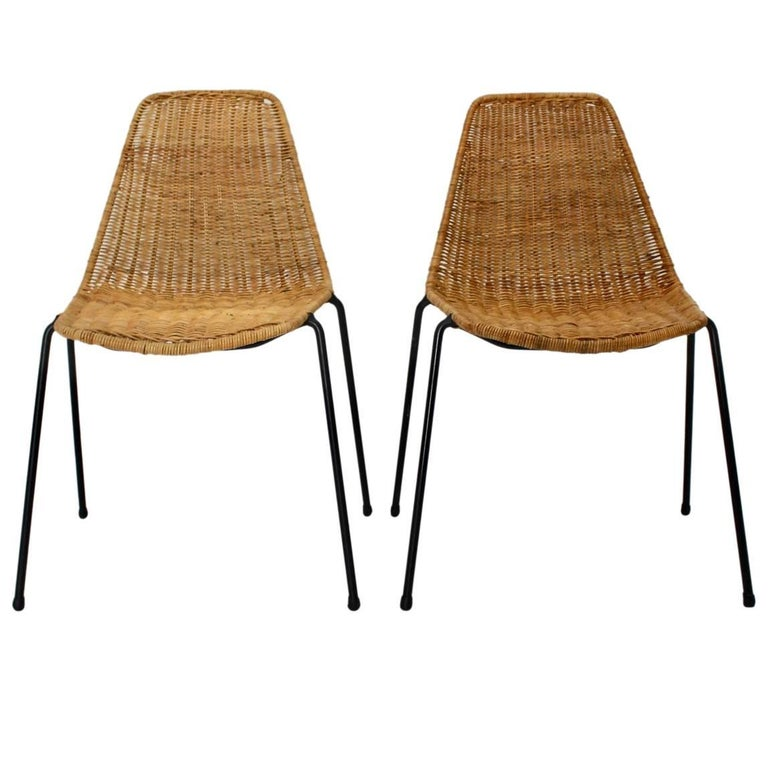 Midcentury Rattan Chairs The Basket By Gian Franco Legler 1951 Switzerland For