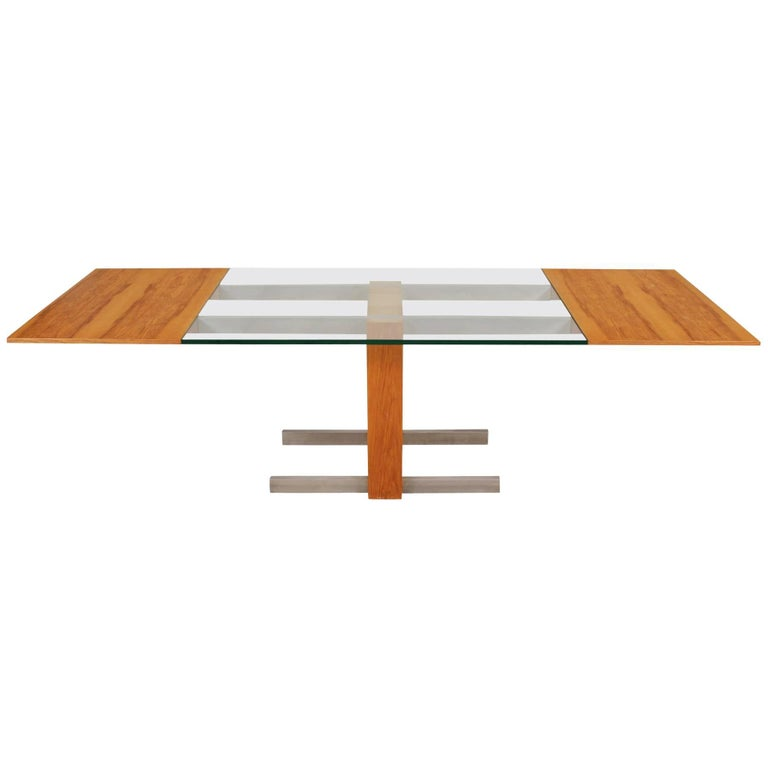 """Vladimir Kagan Midcentury """"Cubist"""" Dining Table with Leaves and Console/Server"""