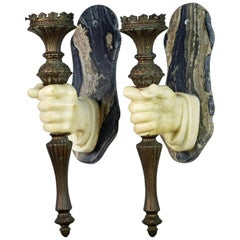 Pair of Rare 19th Ct. French Marble Hand and patinated metal Torch Wall Sconces