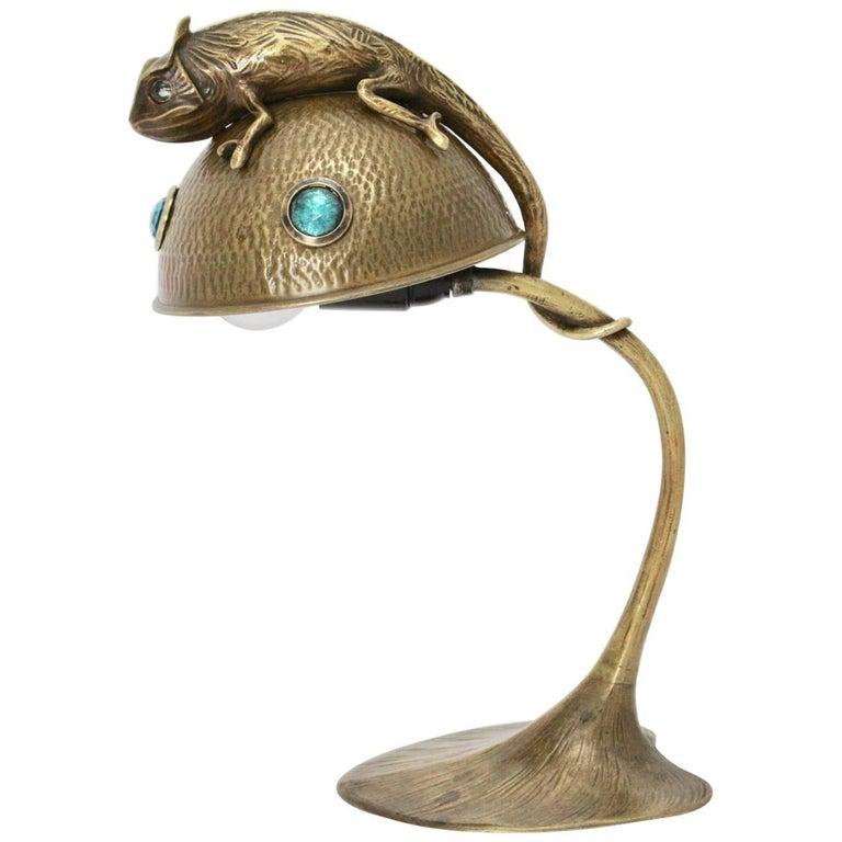 Bronze Art Nouveau Table Lamp France