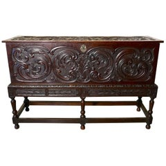 17th Century Carved Oak Sword Chest on Stand