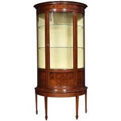 Mahogany Sheraton Revival Half Round Display Cabinet