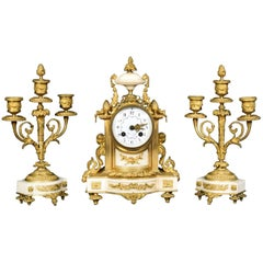 French White Marble Clock with Garnitures by H & F Paris