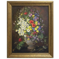 Oil on Canvas Painting Wildflowers by Emil Fiala Vienna, 1930s