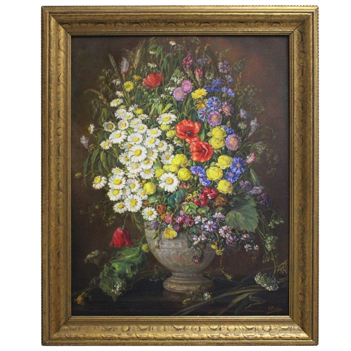 Art Deco Era Oil on Canvas Painting Wildflowers by Emil Fiala Vienna, 1930s