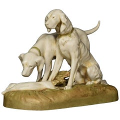 Royal Dux Figure of Two Hunting Dogs
