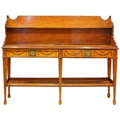 Superior English Adam Style Three-Tier Inlaid Tiger Maple Server or Sideboard