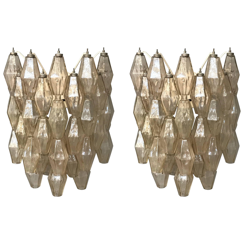 Pair of Wall Lights Poliedri by Carlo Scarpa for Venini