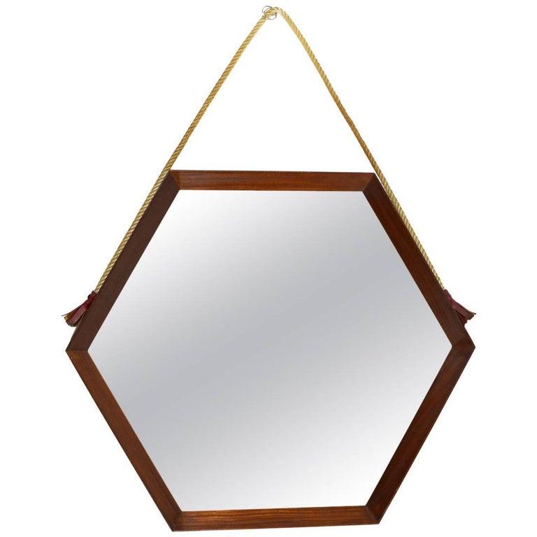Italian Midcentury Teak Wood Hexagonal Mirror