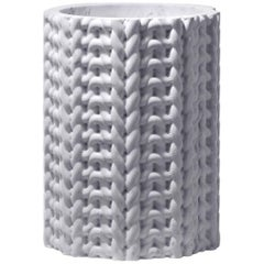 Tricot Vase Large, White Marble