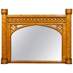 Bird's-Eye Maple and Mahogany Mirror in the Gothic Taste, of Golden Color