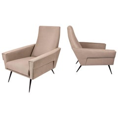 Pair of Mid Modern Armchairs, circa 1950, Italy