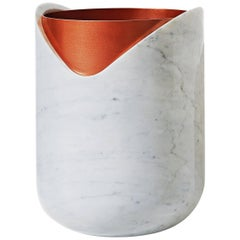 Rabbet Vase 02, White Marble and Copper