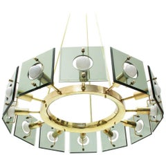 Italian Brass Midcentury Twelve-Light Chandelier by Gino Paroldo, 1950s