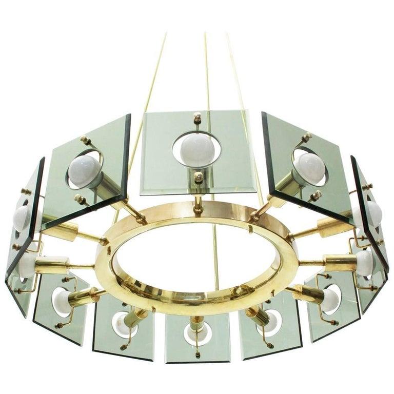 Italian Brass Midcentury Twelve-Light Chandelier by Gino Paroldo, 1950s