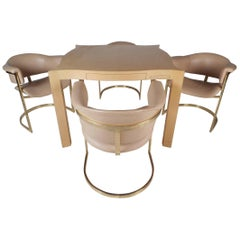 Vintage Modern Game Table and Four Chairs