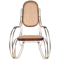 Italian Brass and Cane Rocking Chair