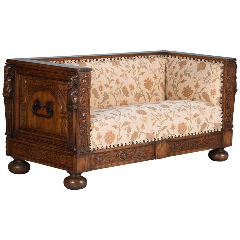 Carved Antique Swedish Oak Bench Sofa For Sale - Carved Antique Swedish Oak Bench Sofa For Sale At 1stdibs