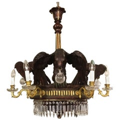 English 19th Century Napoleon III Six-Light Wooden Chandelier with Eagles