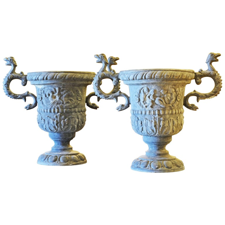 Pair of Magnificent English Late Georgian Serpent Handled Lead Urns or Planters