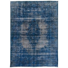 Vintage Blue Distressed Overdyed Rug, 9.05x12.09