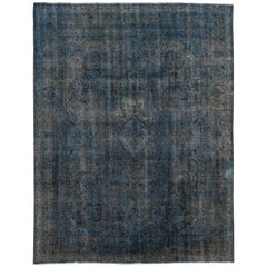 Vintage Blue Distressed Overdyed Rug, 9.07x12.10