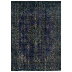 Vintage Blue Distressed Overdyed Rug
