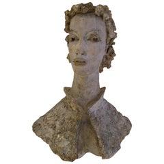 Large Plaster Sculpture Bust of Dede Pritzlaff by Marguerite Stix