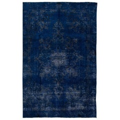 Vintage Blue Distressed Overdyed Rug