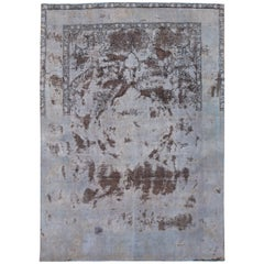 Vintage Gray Distressed Overdyed Rug, 9.04x13.01