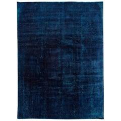 Vintage Blue Overdyed Rug, 13.03x9.10