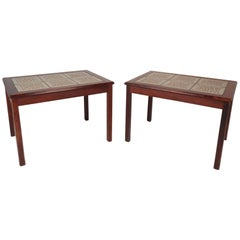 Pair of Danish Midcentury Rosewood Tile Top End Tables