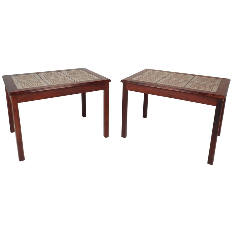 Pair of Danish Midcentury Rosewood Tile Top End Tables